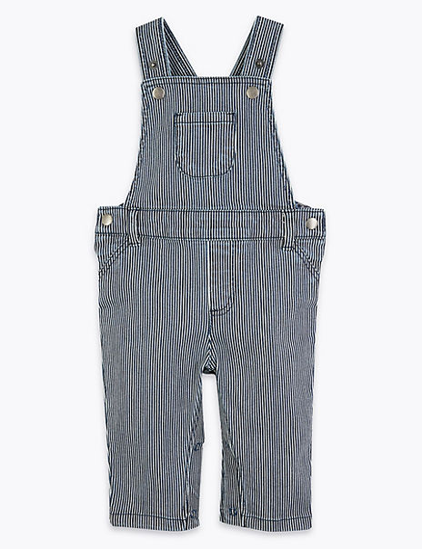 Cotton Rich Striped Dungaree (0 - 3 Years)