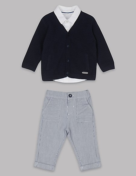 3 Piece Cardigan & Shirt with Trousers Outfit