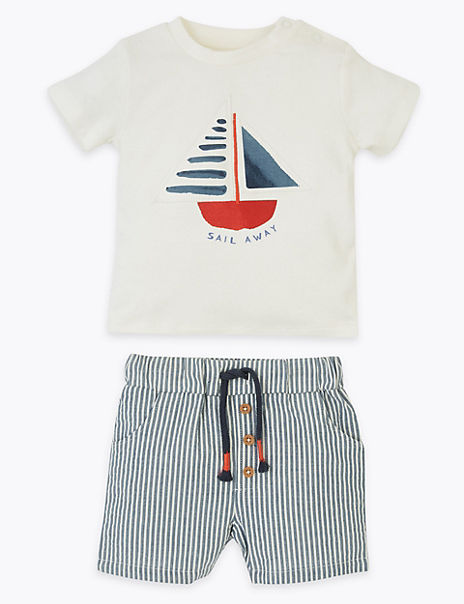2 Piece Pure Cotton Striped Outfit (0-3 Years)