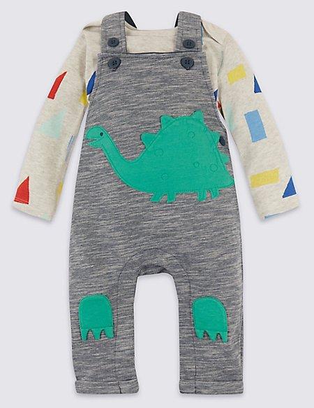 2 Piece Organic Cotton Dinosaur Dungarees & Bodysuit Outfit