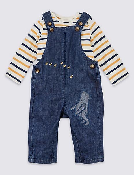 Pure Cotton Winnie the Pooh & Friends™ Dungarees & Bodysuit