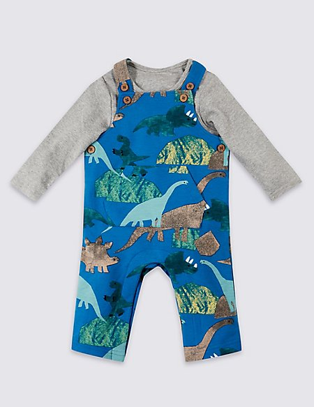 2 Piece Dinosaurs Dungarees & Bodysuit Outfit