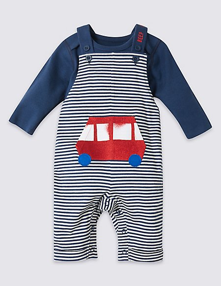 2 Piece Bus Dungarees & Bodysuit Outfit