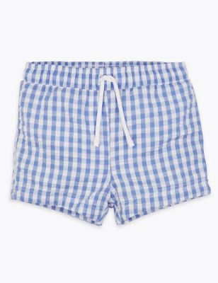 Blue gingham check swim shorts