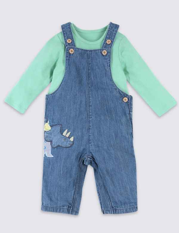 Girls' Clothing (0-24 Months) The Cheapest Price Next Baby Boy Girl Denim Look Dungarees With Stars