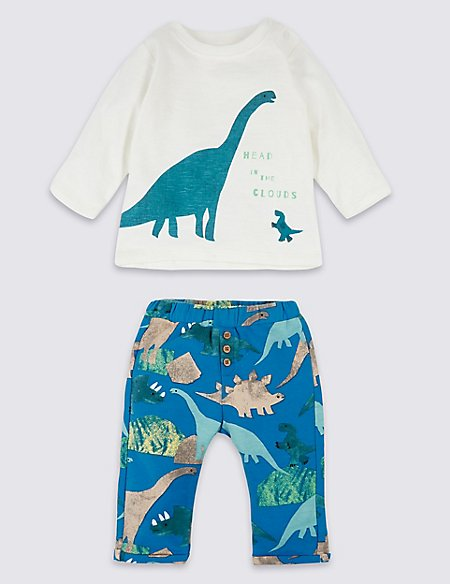 2 Piece Dinosaur Top with Joggers Outfit
