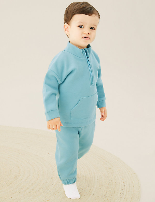 2pc Cotton Zip Sweater and Jogger Outfit (0-3 Yrs)