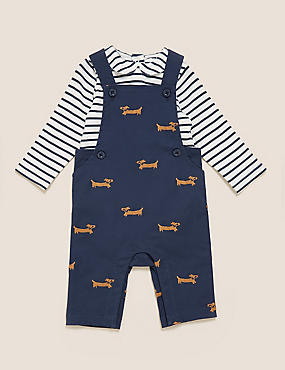 2pc Cotton Embroidered Dog Dungaree Outfit (0-3 Yrs)