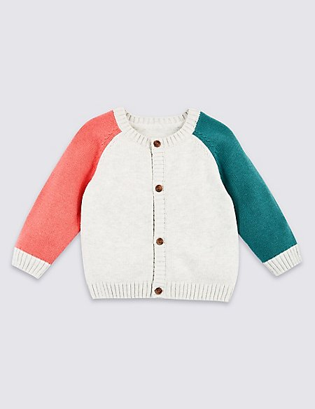 Pure Cotton Colour Block Knitted Cardigan