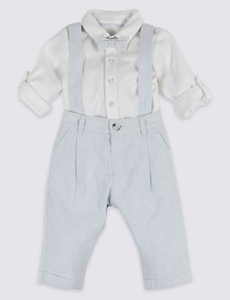 3 Piece Dungarees & Bodysuit with Tie Outfit