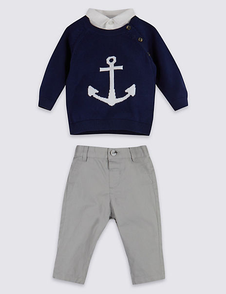 2 Piece Mock Shirt Jumper & Trousers Outfit