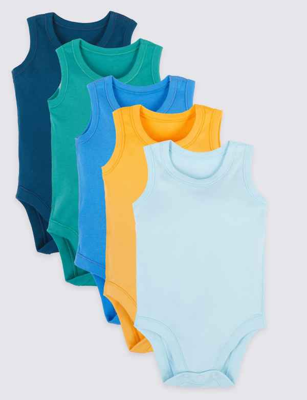 53fba0ffb57 5 Pack Pure Cotton Bodysuits