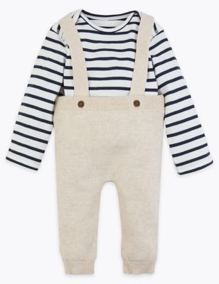 2 piece knitted dungaree outfit