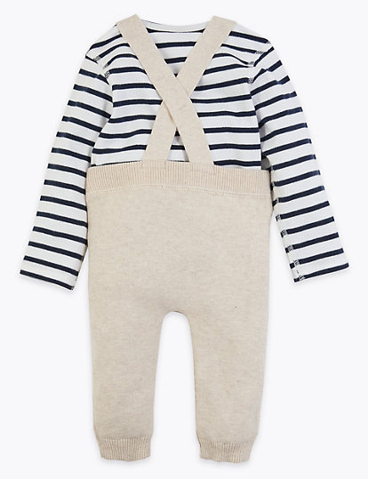 2 Piece Cotton Knitted Dungaree Outfit