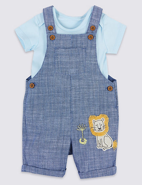2 Piece Denim Chambray Dungarees with Bodysuit
