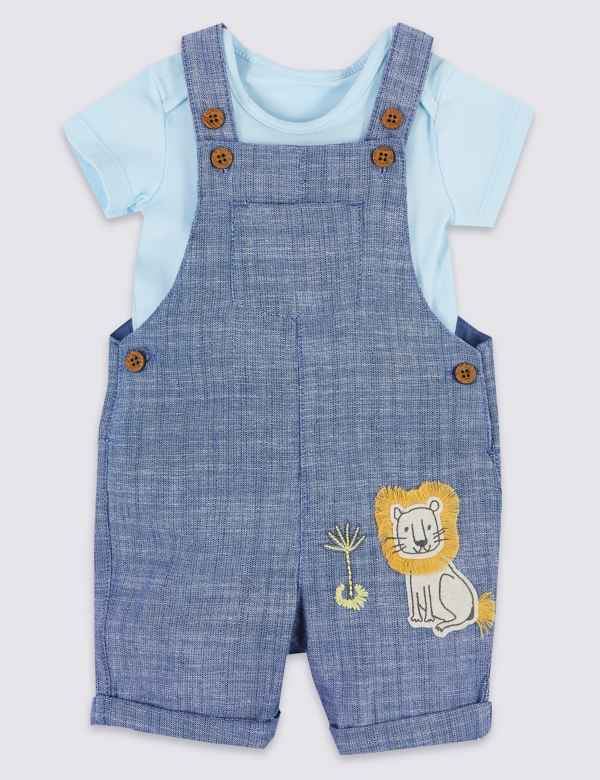 3855013fed53 2 Piece Denim Chambray Dungarees with Bodysuit