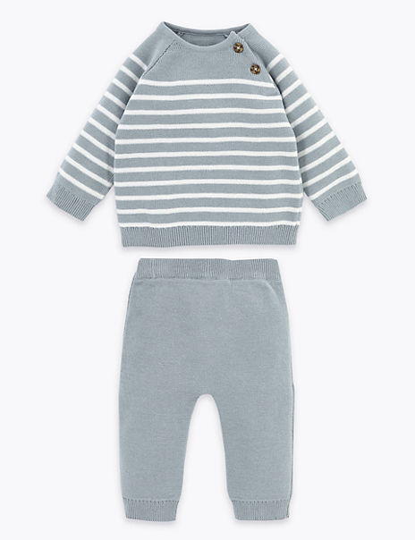 2 Piece Striped Knitted Outfit