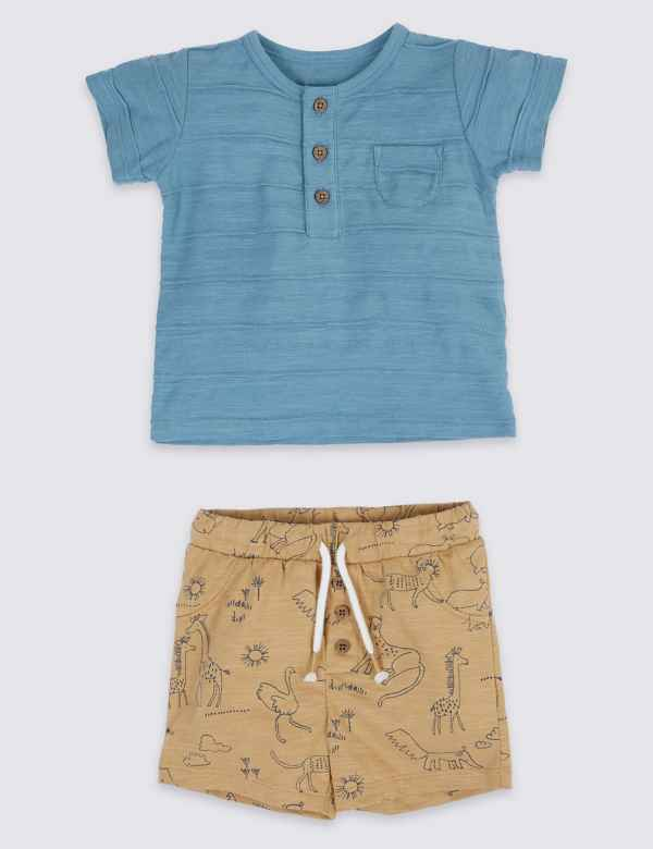 db304761b0095 2 Piece Printed T-Shirt   Shorts Outfit