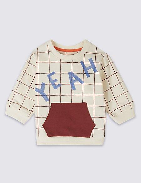 Cotton Slogan Sweatshirt with Stretch