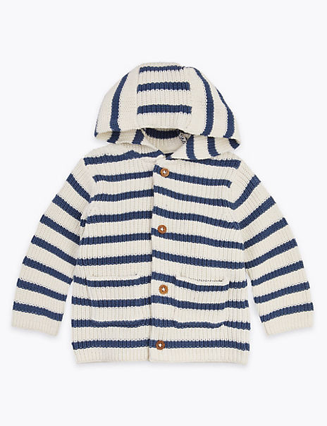 Cotton Striped Hooded Cardigan