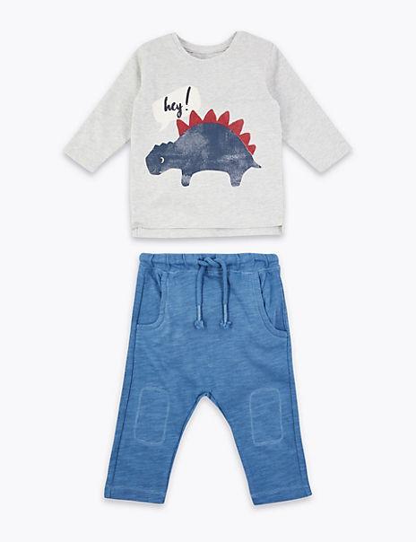 2 Piece Cotton Dinosaur Outfit