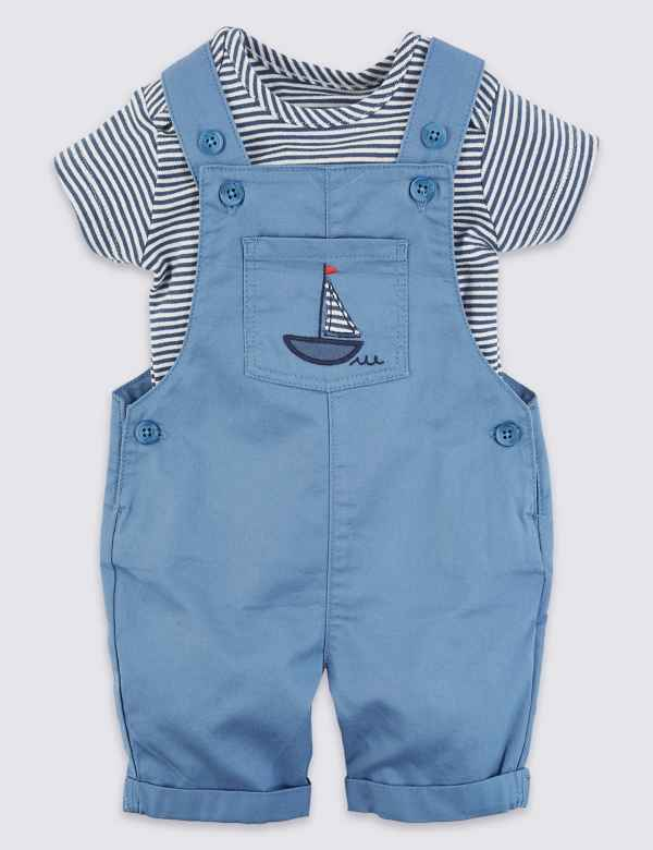 9ca116d3ca5 2 Piece Pure Cotton Dungarees with Bodysuit