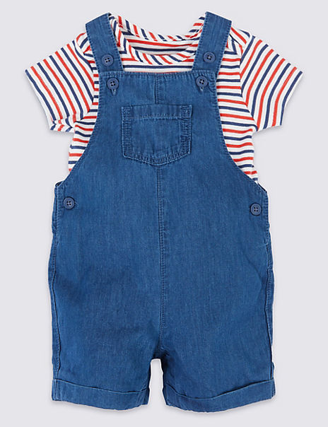 2 Piece Chambray Dungarees with Bodysuit