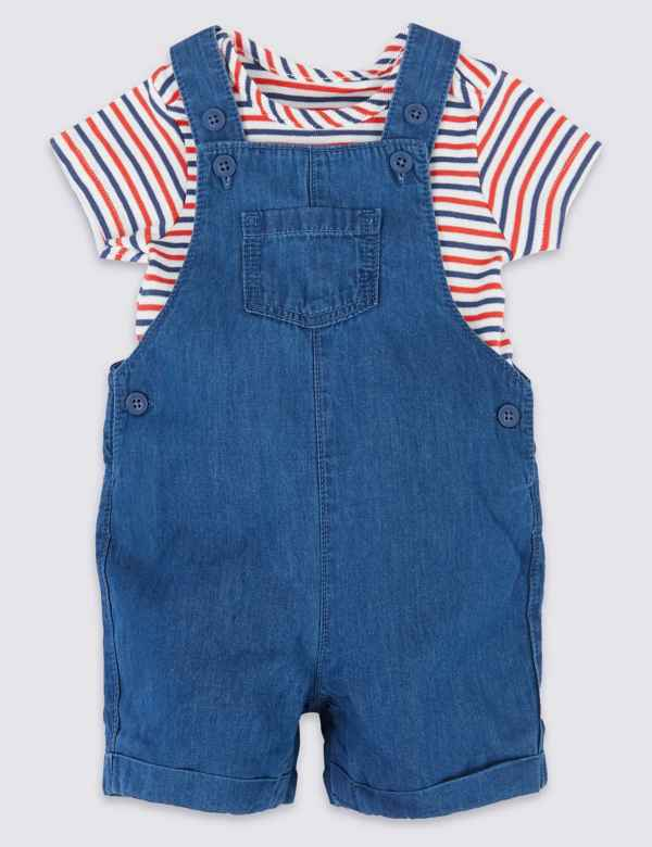 16eb2c30b14a 2 Piece Chambray Dungarees with Bodysuit