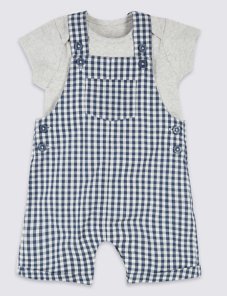 2 Piece Gingham Dungarees with Bodysuit
