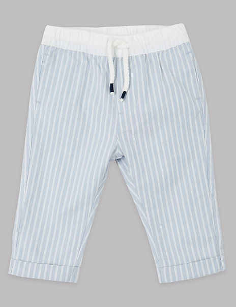 Cotton Striped Chinos with Stretch