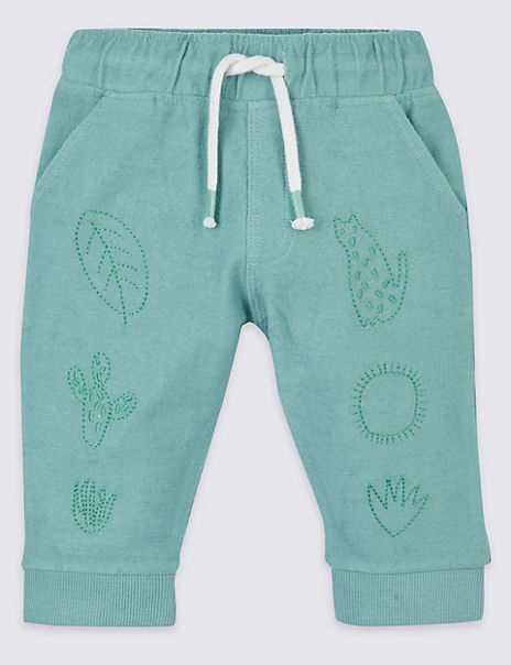 Cotton Embroidered Joggers with Stretch