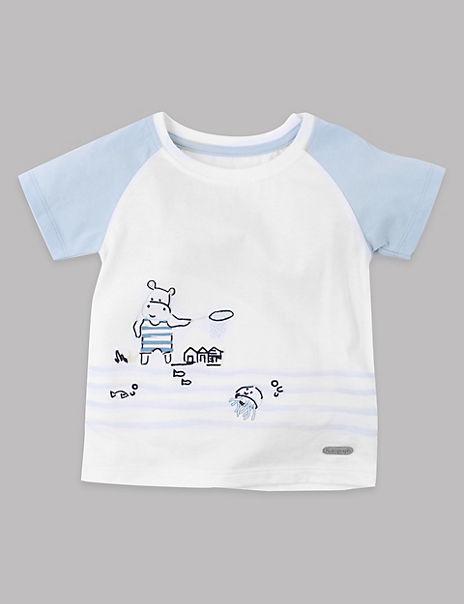 Cotton Rich Hippopotamus Print T-Shirt