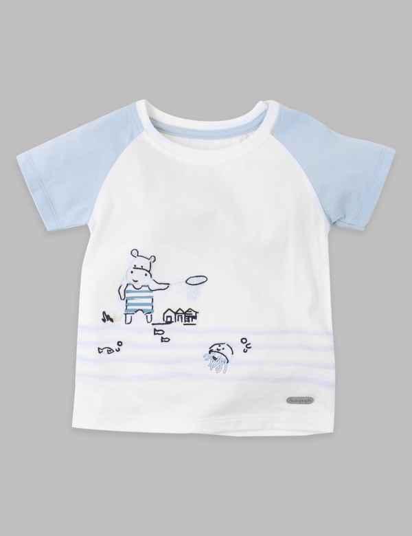 32b535b29 Cotton Rich Hippopotamus Print T-Shirt