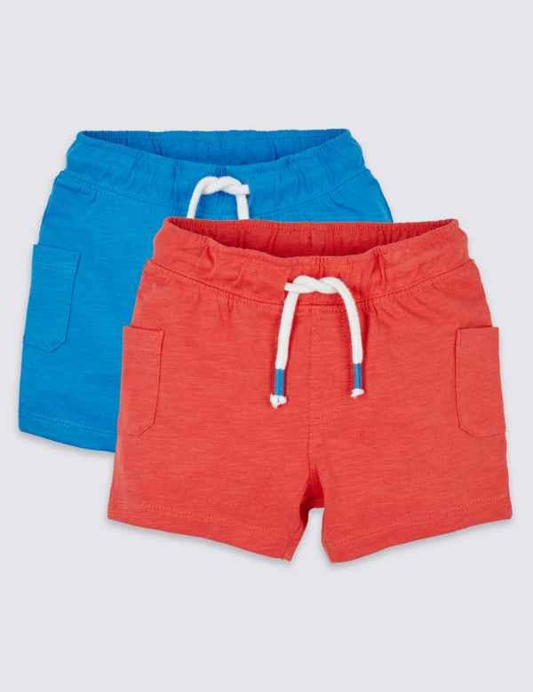 9f03a86d492 2 Pack Pure Cotton Slub Shorts