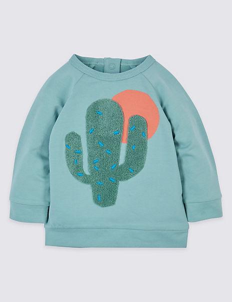 Cotton Cactus Sweatshirt with Stretch