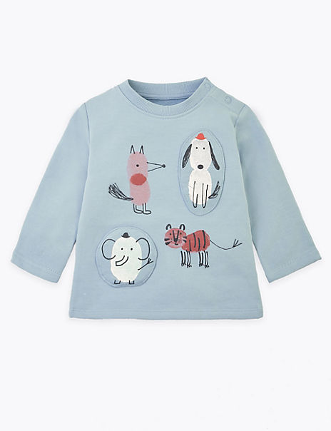 Cotton Rich Animal Design Sweatshirt
