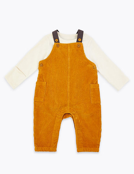 2 Piece Cord Dungarees Outfit