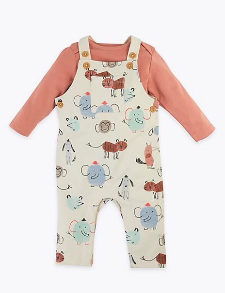 Cotton Rich Animal Print Dungaree Outfit
