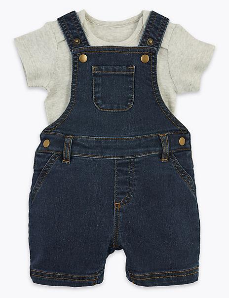 2 Piece Denim Dungaree Outfit