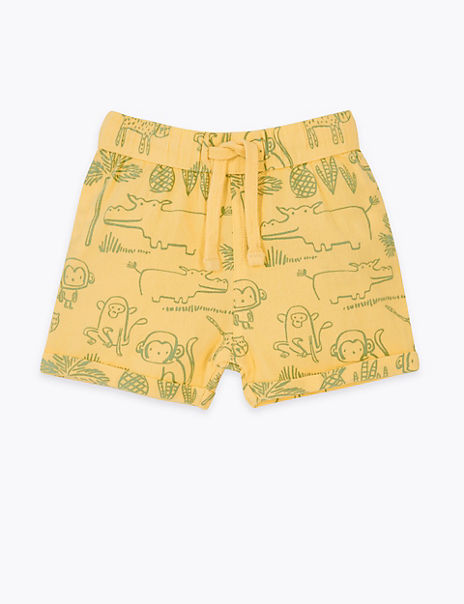 Pure Cotton Animal Shorts (0-3 Years)