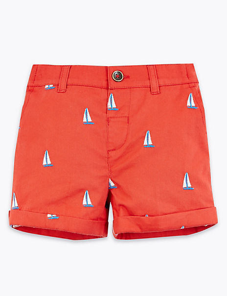 Pure Cotton Embroidered Chino Shorts (0-3 Years)