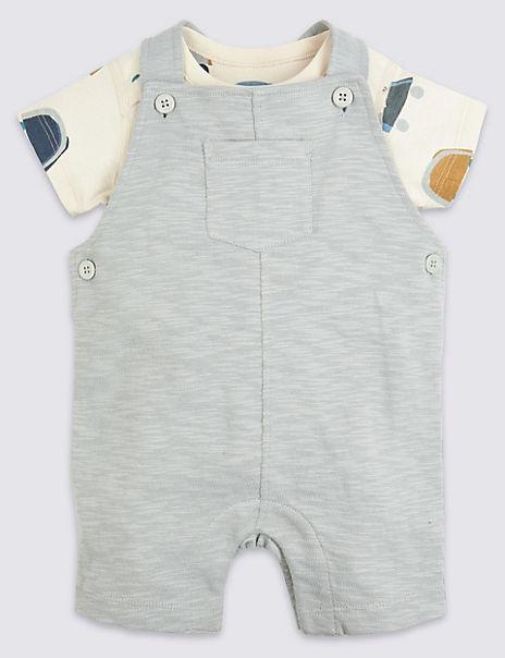 2 Piece Cotton Car Print Dungarees Outfit