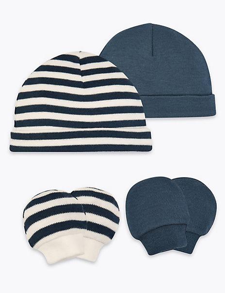 2 Pack Pure Cotton Premature Hats & Mittens Sets