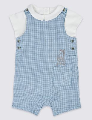 Swinging boy bunny wearing overalls