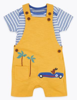 2 Piece Applique Dungarees Outfit (0-3 Yrs)