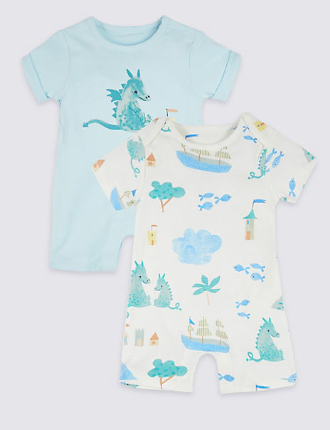 2 Pack Pure Cotton Dragon Rompers