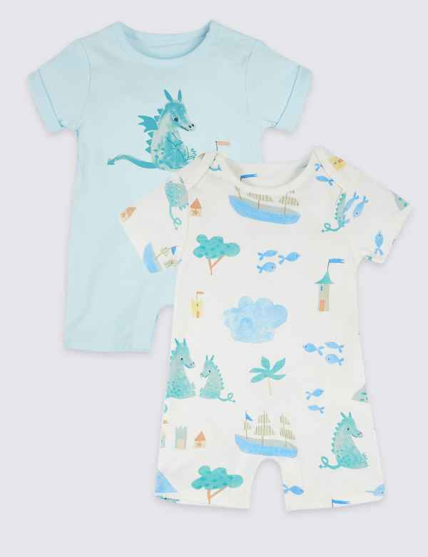 bb398c859 2 Pack Pure Cotton Dragon Rompers
