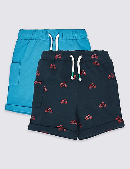 2 Pack Pure Cotton Sweat Shorts