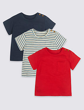 3 Pack Pure Cotton Panelled T-Shirts