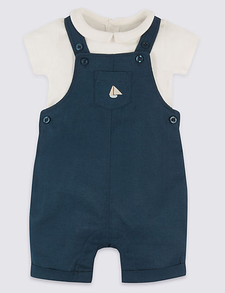 2 Piece Linen Dungarees with Bodysuit Outfit